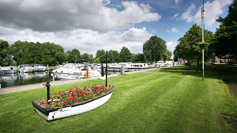 Beccles Quay with Boat Shaped Flowerbed