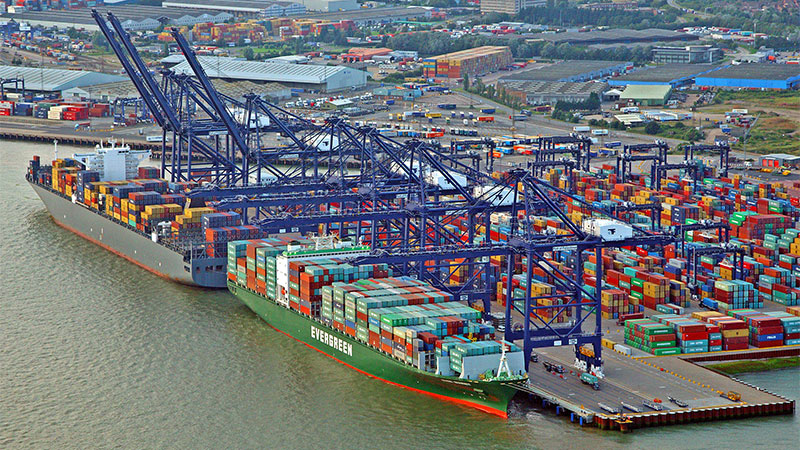 Ariel view of Felixstowe Port