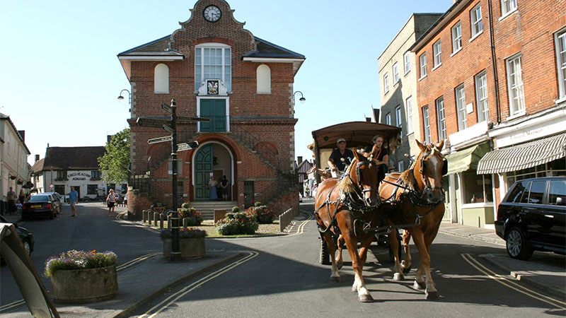Woodbridge Town Centre with Horse Drawn Carriage