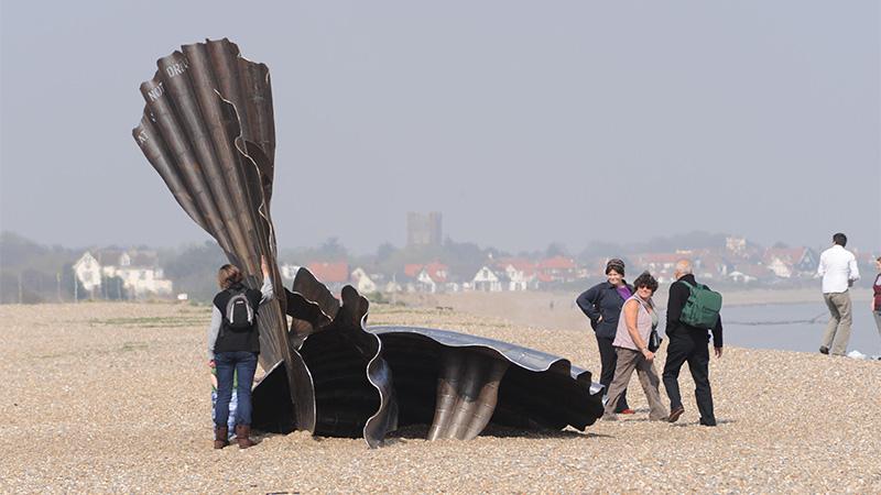 Aldeburgh shell sculpture on the beach