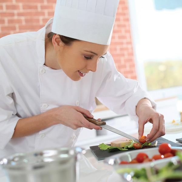 Female chef preparing food