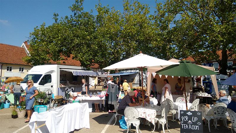 Local village market in the sun