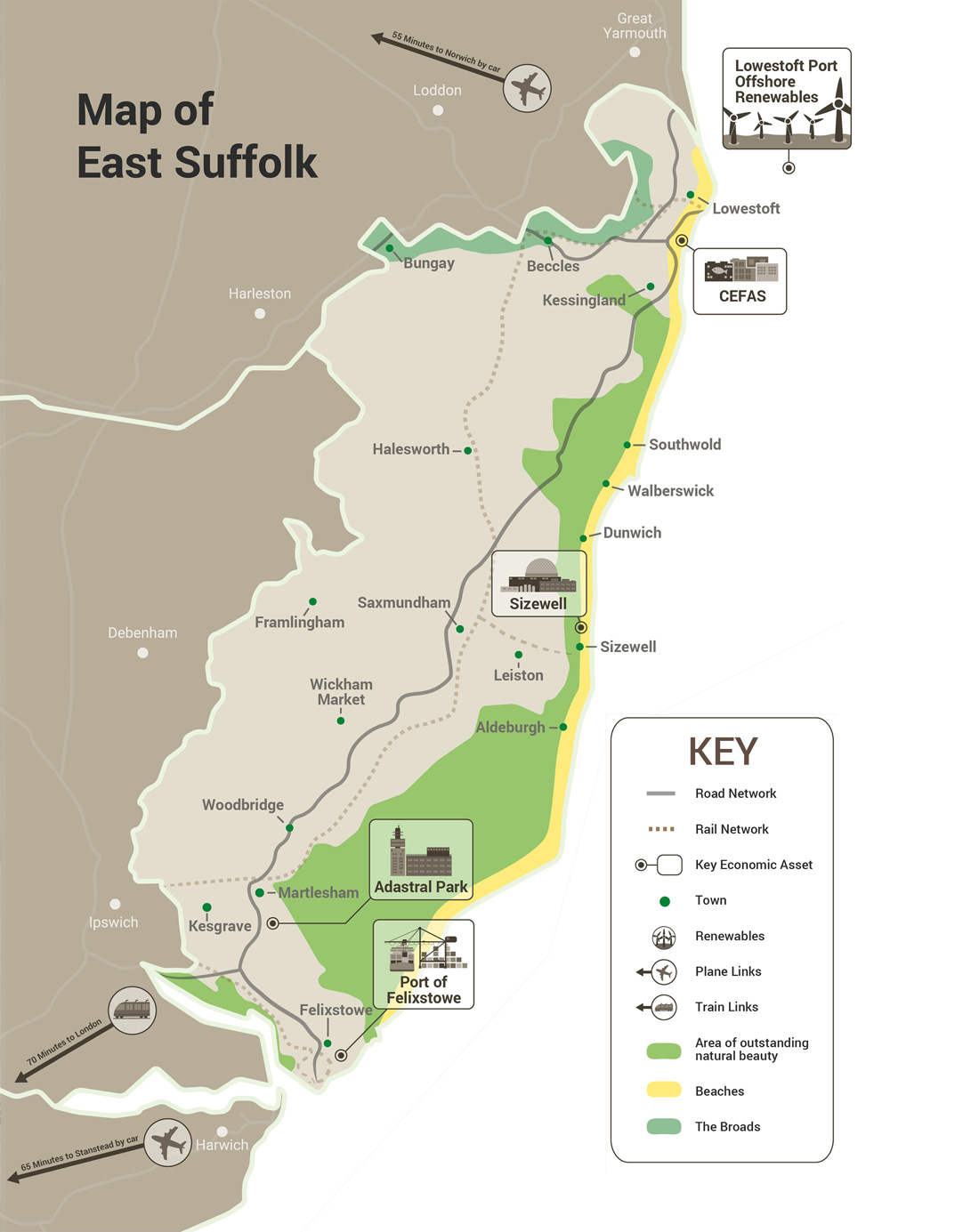 Map of East Suffolk highlighted prominent business regions